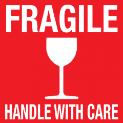 """Sticker op rol """"Fragile - Handle with care"""""""