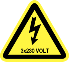 3x230 volt (sticker)