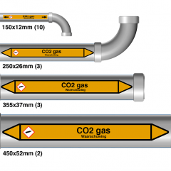 "Leidingmarkering sticker ""CO2 gas"""