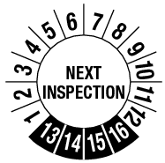 Next inspection 4 jaar Ø30mm (sticker UV vernis)