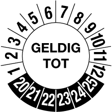 Geldig tot 6 jaar Ø20mm (sticker ultra destructible)