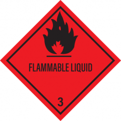 Sticker met pictogram en tekst Flammable liquid 3