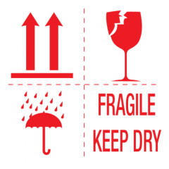 Sticker met pictogrammen Fragile, keep dry, this side up