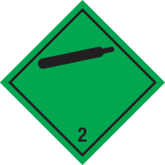 Sticker met pictogram Non flammable compressed gas ADR 2.2